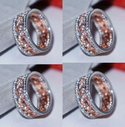 Men Women's Two-Tone Silver Rose Gold Zircon Floral Crystal