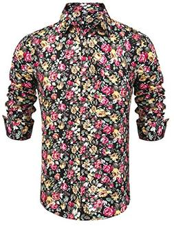 Daupanzees Mens Long Sleeve Luxury Red Rose Print Casual But