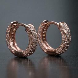 Mens Rose Gold Sterling Silver Micro Pave Iced Small CZ Hugg