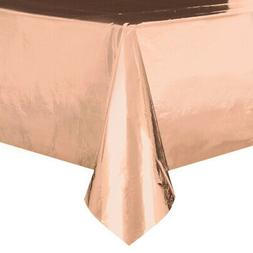 metallic rose gold plastic table cover rectangle
