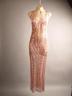 Metallic Rose Gold Sheer Netting Evening Club Party Long Gow