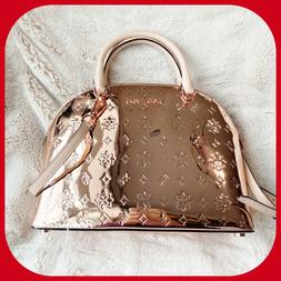MICHAEL KORS MIRROR METALLIC EMMY DOME SATCHEL BAG IN ROSE G