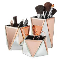 Beautify Mirrored Rose Gold Cosmetic Makeup Organizer Pot Br