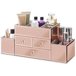 Beautify Large Mirrored Rose Gold Glass Jewelry Box & Cosmet
