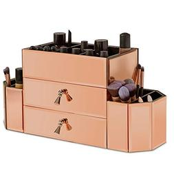 mirrored rose gold glass storage