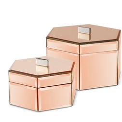 Beautify Mirrored Rose Gold Octagon Jewelry Storage Trinket