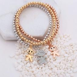 Mix Colors Boy Girl Crystal Charms Bracelets Jewelry Gifts G