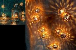 Moroccan Globe String Lights Outdoor Battery Operated ROSE G