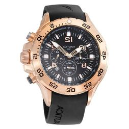 Nautica Men's N18523G NST Black/Rose Gold-Tone Stainless Ste