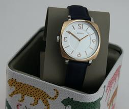 NEW AUTHENTIC FOSSIL BLAKELY ROSE GOLD NAVY BLUE LEATHER WOM