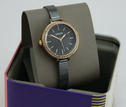 NEW AUTHENTIC FOSSIL CLASSIC MINUTE ROSE GOLD GREY CRYSTALS