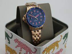 NEW AUTHENTIC FOSSIL FB-01 ROSE GOLD BLUE PINK WOMEN'S ES476