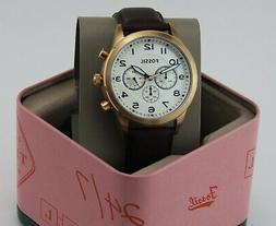 NEW AUTHENTIC FOSSIL FLYNN PILOT CHRONO ROSE GOLD BROWN LEAT