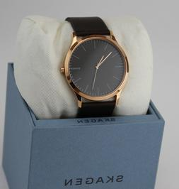 NEW AUTHENTIC SKAGEN JORN ROSE GOLD BROWN LEATHER GREY DIAL