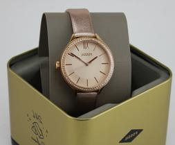 NEW AUTHENTIC FOSSIL SUITOR ROSE GOLD BRONZE LEATHER WOMEN'S