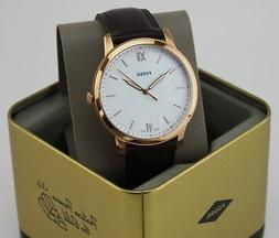 NEW AUTHENTIC FOSSIL THE MINIMALIST SLIM ROSEGOLD BROWN LEAT