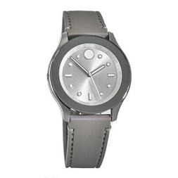 New Movado Bold 38mm Silver Dial with Grey Silicone Strap Wo