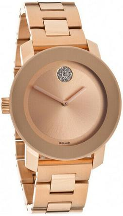 NEW Movado Bold Rose Gold Crystal Ball Dial 3600086 36mm Swi