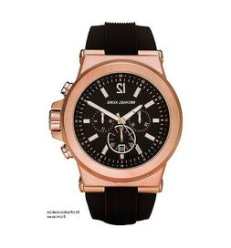 New Michael Kors Dylan Rose Gold Black Chronograph Silicone