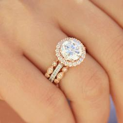 New fashion 3pcs 18k rose gold Plated women's ring round zir
