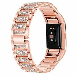 New For Fitbit Charge 3 Bands Bling Diamond Strap Stainless