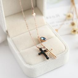 NEW Girls 18K Rose Gold Plated RGP Double Cross Blue CZ Pend