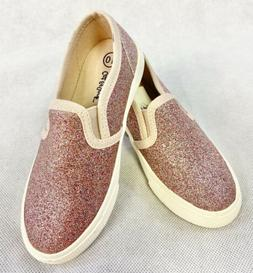 NEW Girls' Slip-On Sneakers Sz 9 & 10 Shoe Rose Gold Sparkle