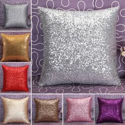 New Glitter Solid Sequins Throw Pillow Case Lounge Cafe Deco