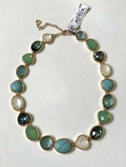 New Anne Klein Gold tone Green Blue Collar Necklace