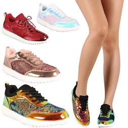 New Holographic Sequin Lace Up Fashion Sneaker Flat Ankle Bo