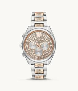 NEW Michael Kors Janelle Rose Gold & Silver Glitz Pave Two T