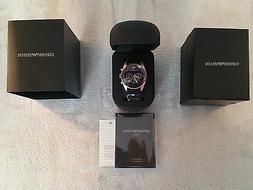 New Mens Emporio Armani AR5905 Black & Rose Gold Chronograph
