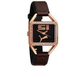 NEW PUMA PLIANCY ROSE GOLD,BROWN LEATHER BAND,CRYSTAL BEZEL