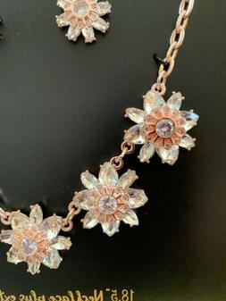 NEW ROSE GOLD Cubic Zirconia CZ Necklace Earrings Wedding, W