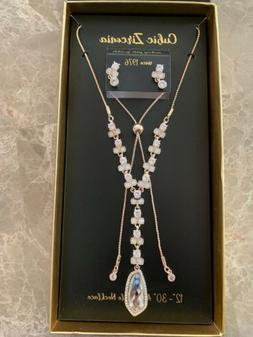NEW ROSE GOLD Cubic Zirconia CZ Necklace Earrings Wedding,Wo