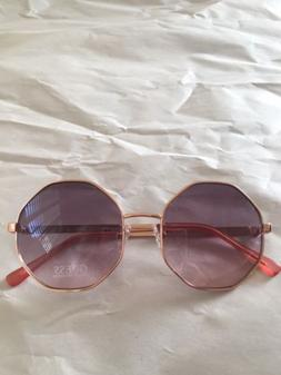 New GUESS Rose Gold Frame Smoke Lenses aviator Octagon sungl