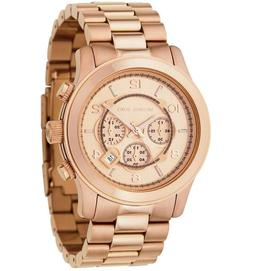 New Michael Kors Runway Rose Gold Chronograph Stainless Stee