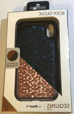 NEW Body Glove Sequins Reversible Black / Rose Gold Case for