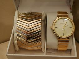 NEW WOMEN'S STEVE MADDEN GOLD WATCH LARGE ROUND FACE TWO TON