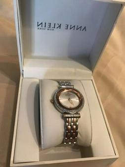NEW  Anne Klein Womens 32mm Rose-Gold & Silver-Tone Crystal