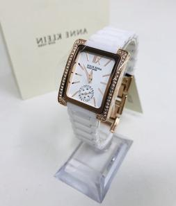 Anne Klein New York 12/2292WTRG White Ceramic Rose-Gold Tone
