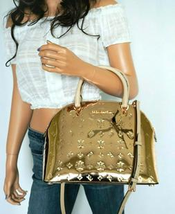 NWT Michael Kors Emmy Dome Large Mirror Metallic Satchel Sho