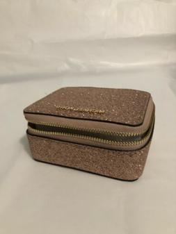NWT MICHAEL KORS GLITTER LEATHER GIFTABLES Jewellery Box Pou