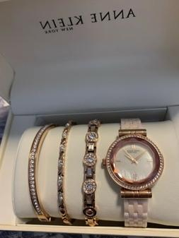 ANNE KLEIN NY 12/2316BHST Rose Gold Ceramic Watch With 3 Jew