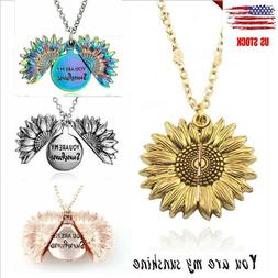 Openable Sunflower Pendant Necklace YOU ARE MY SUNSHINE Pend