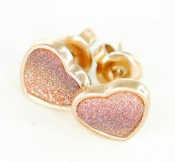 Pair Of Rose Gold Plated On 316L Surgical Steel Heart Glitte