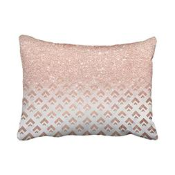 Emvency Pillow Case Faux Rose Gold Glitter Ombre Rose Gold F