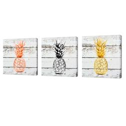 Pineapple Wall Art Framed Canvas Painting Rose Gold Black Ba