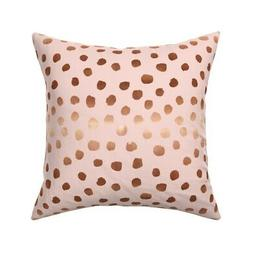 Pink Dots Rose Gold Look Copper Throw Pillow Cover w Optiona