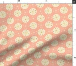 Pink Rose Gold Sparkles Shiny Foil Retro Fabric Printed by S